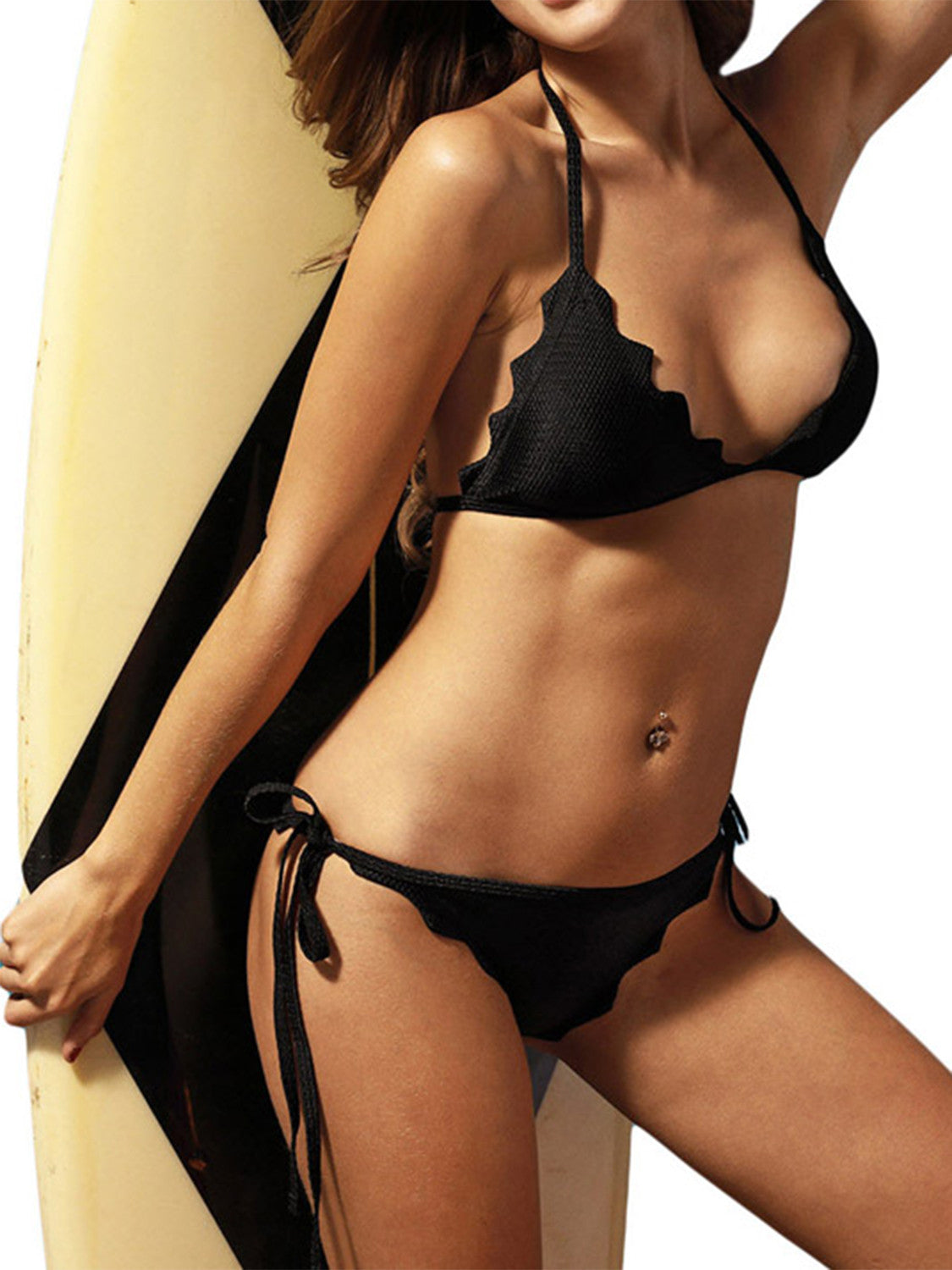 Black Halter Scalloped Hem Padded Triangle Bikini Top And Bottom