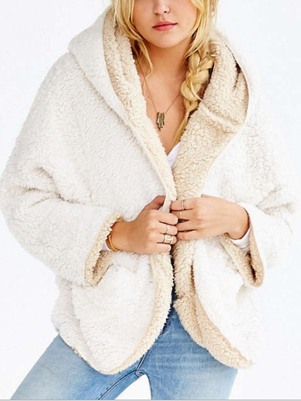 Reversible Fuzzy Faux Fur Hooded Coat