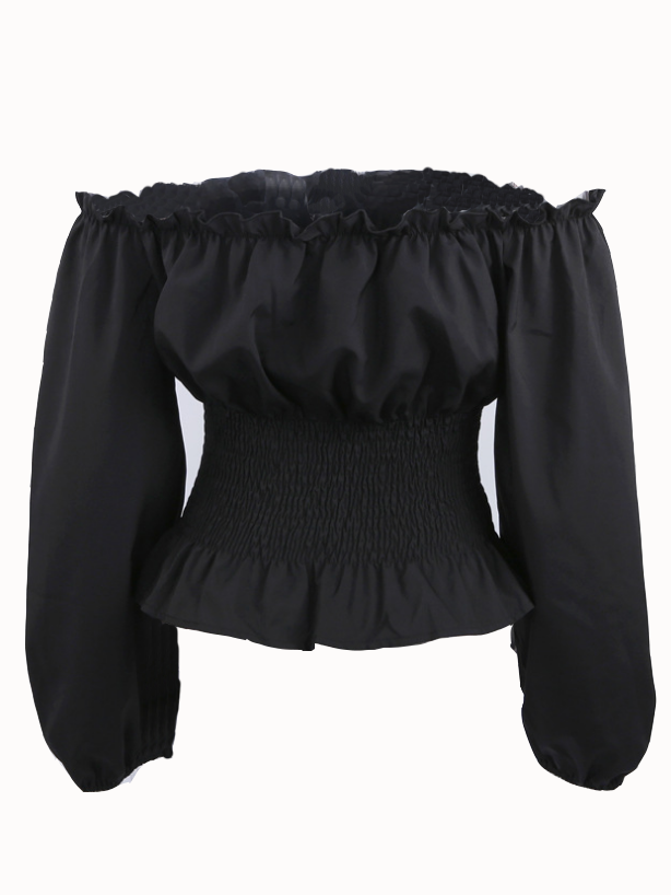 Black Off Shoulder Corset Detail Long Sleeve Blouse