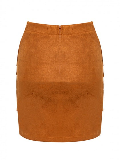 Brown High Waist Lace Panel Women Suede Mini Skirt