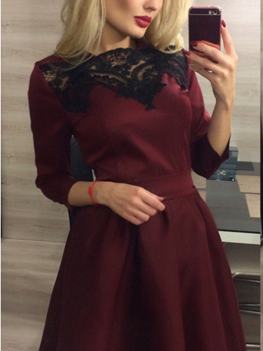 Burgundy Lace Panel Tie Waist Long Sleeve Dress