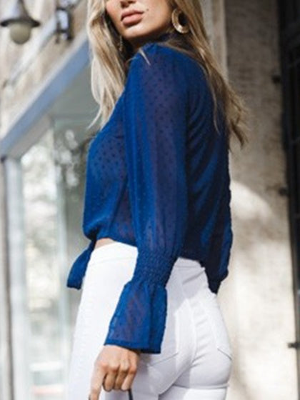 Blue Chiffon Stand Collar Frill Trim Long Sleeve Chic Women Blouse