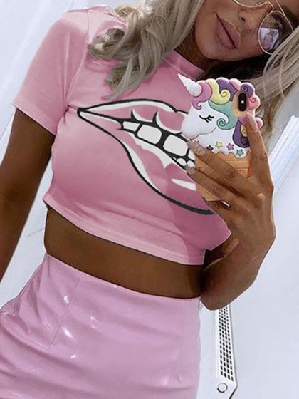 Pink Crew Neck Mouth Print Chic Women Crop Top