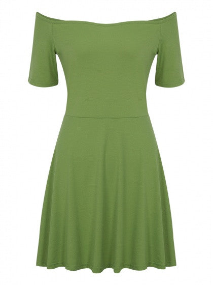 Green Off Shoulder Short Sleeve Dress