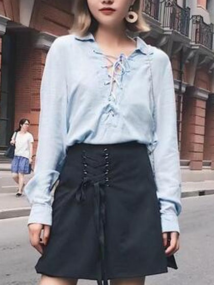 Blue Plunge Neck Lace Up Sleeve Denim Shirt