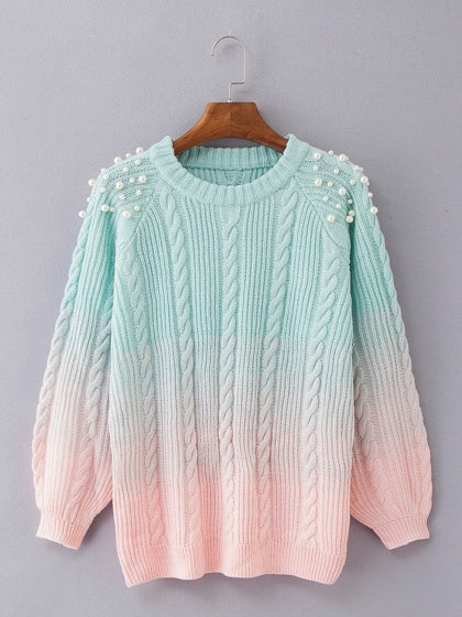Green Dip Dye Beaded Embellished Long Sleeve Chic Women Knit Sweater