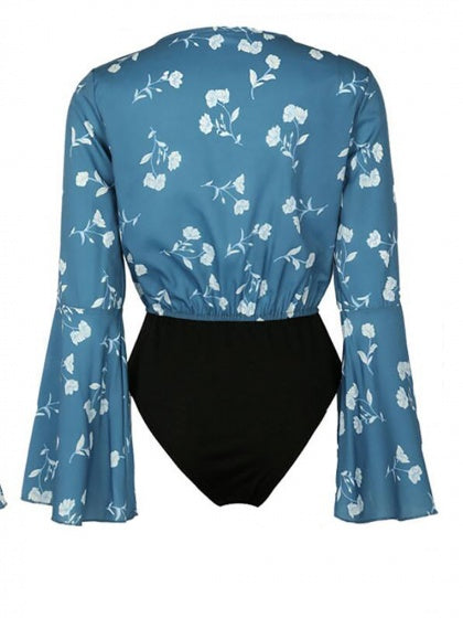 Blue V-neck Floral Flared Sleeve Bodysuit