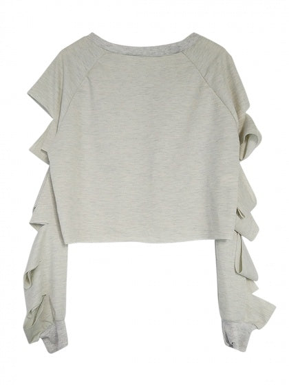 Gray Embroidery Rip Sleeve Raw Hem Sweatshirt