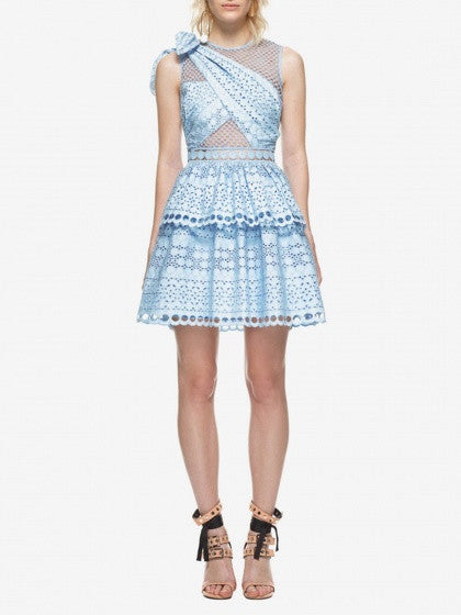 Blue Cutwork Lace Wrap Knot Shoulder Sheer Paneled Skater Dress
