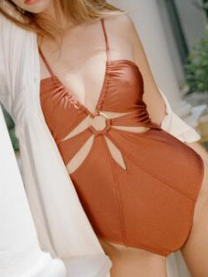 Brown Plunge Cut Out Ring-Detailed One-Piece Swimsuit