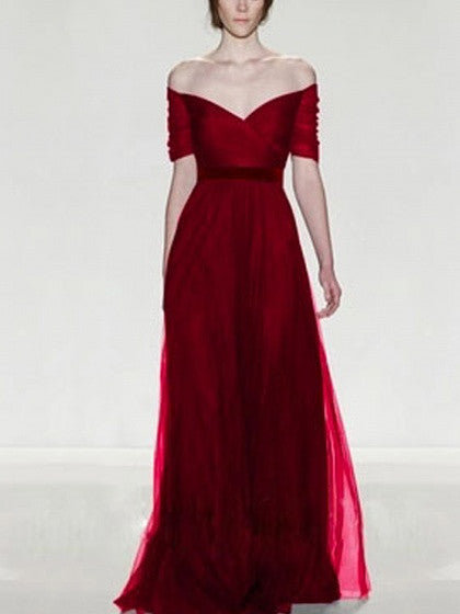 56d63ecf9 Red Prom Dress. Burgundy V-neck ...