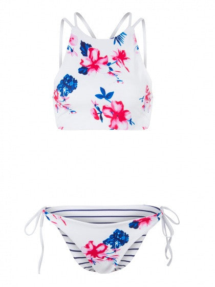 Multicolor Halter Floral Print Bikini Top And Tie Side Bottom