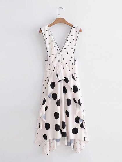 White Plunge Polka Dot Ruffle Trim Sleeveless Chic Women Maxi Dress