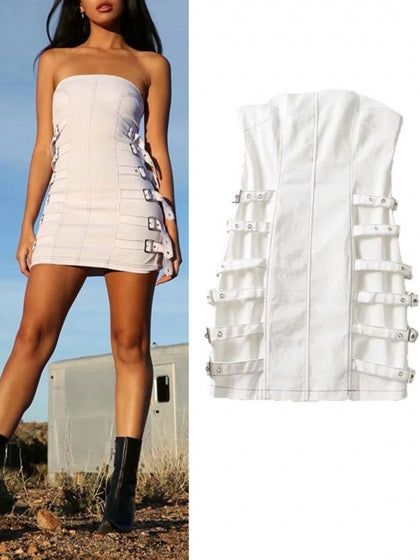White Cotton Bandeau Buckle Strap Women Mini Dress