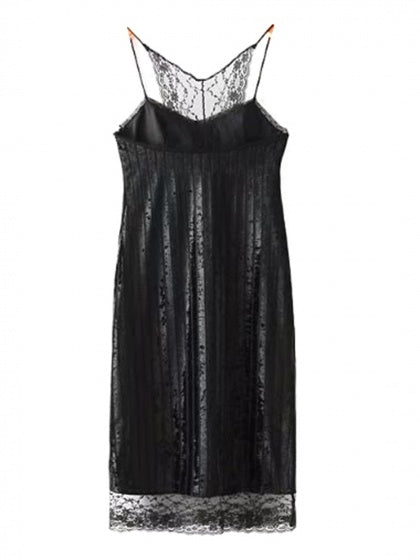Black Velvet Spaghetti Strap Lace Panel Midi Dress