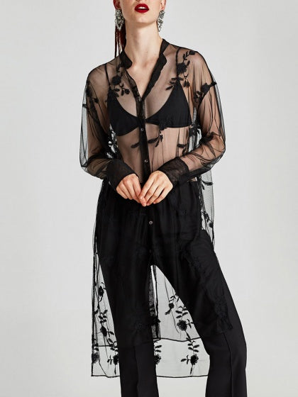 Black Embroidery Long Sleeve Sheer Mesh Shirt Dress