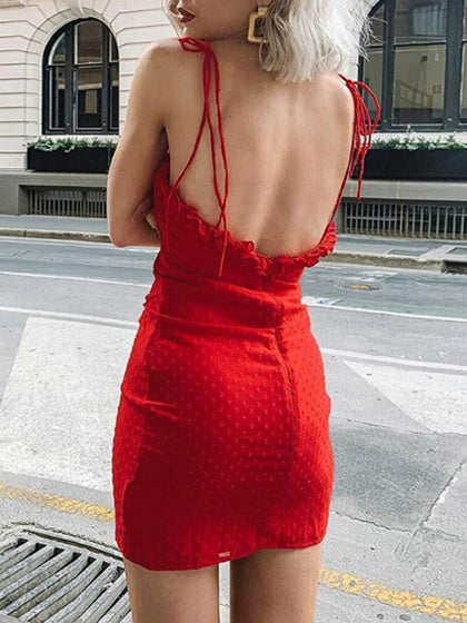 Red Frill Trim Open Back Bodycon Cami Mini Dress