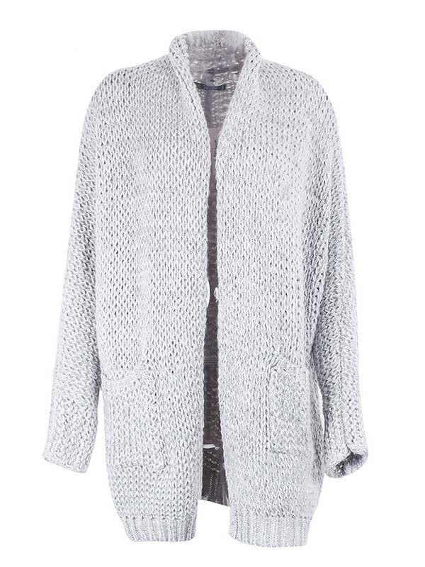 Gray Pointelle Stitch Long Sleeve Cardigan