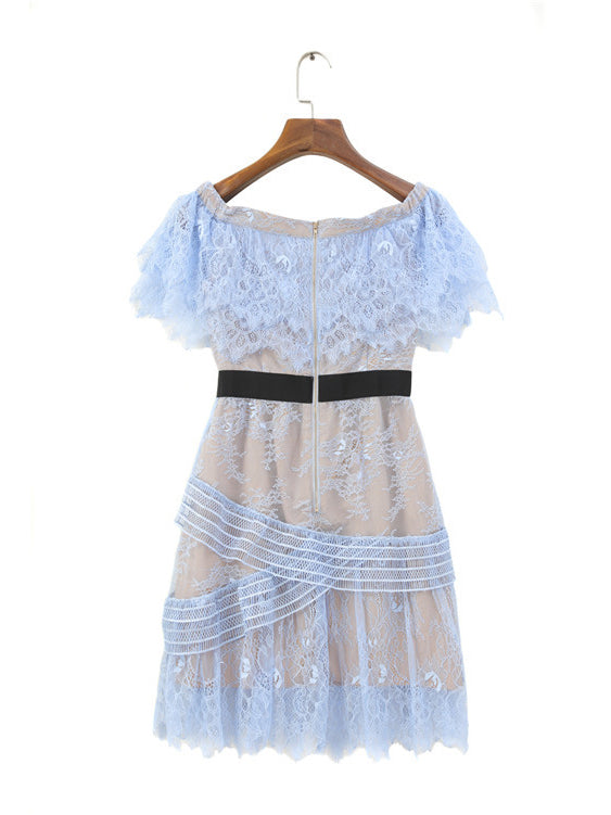 Blue Off Shoulder Ruffle Trim Lace Mini Dress