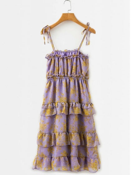 Purple Chiffon Floral Print Layered Ruffle Trim Cami Midi Dress