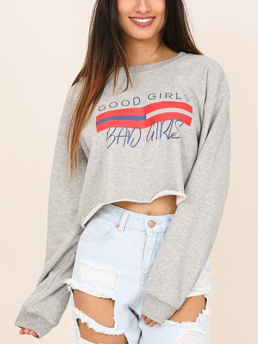 Gray Slogan Print Raw Hem Sweatshirt