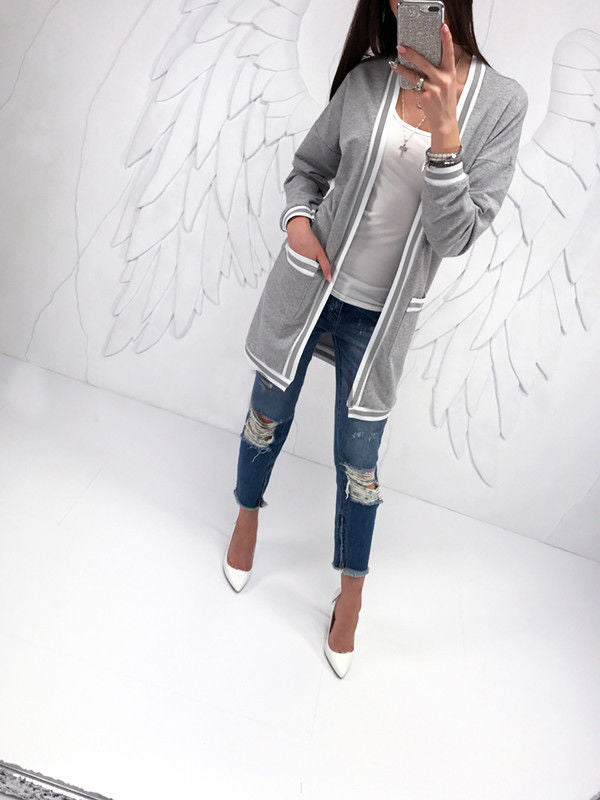 Gray Stripe Open Front Long Sleeve Cardigan