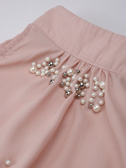 Pink Halter Beads Embellished Tie Knot Back Vest Top