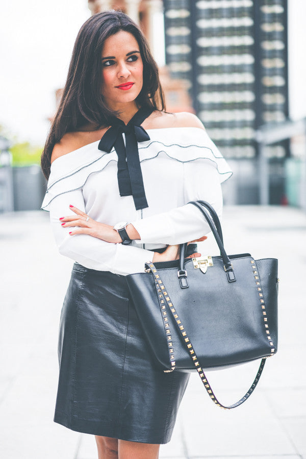 White Off Shoulder Flounced Long Sleeve Blouse Shirt With Bow Tied