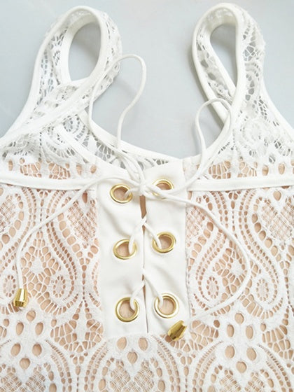 White V-neck Lace Up Detail Lace Swimsuit