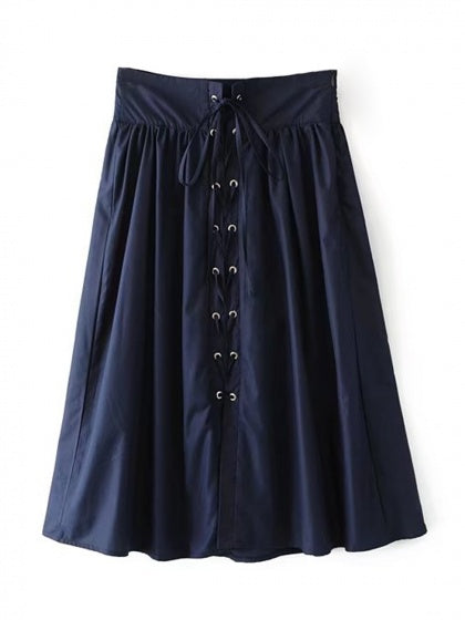 Navy High Waist Eyelet Lace Up Front Prom Skirt