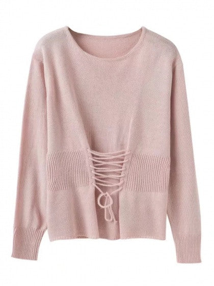 039f016fc Pink Lace Up Detail Long Sleeve Knit Jumper