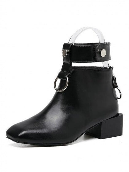 Black Square Toe Circle Detail Ankle Boots