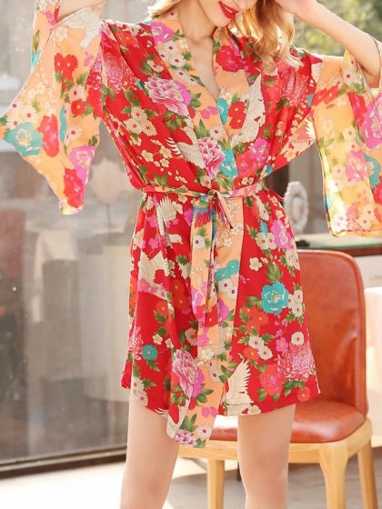 e26f10a290350 Red Cotton Floral Print Open Front Tie Waist Chic Women Kimono