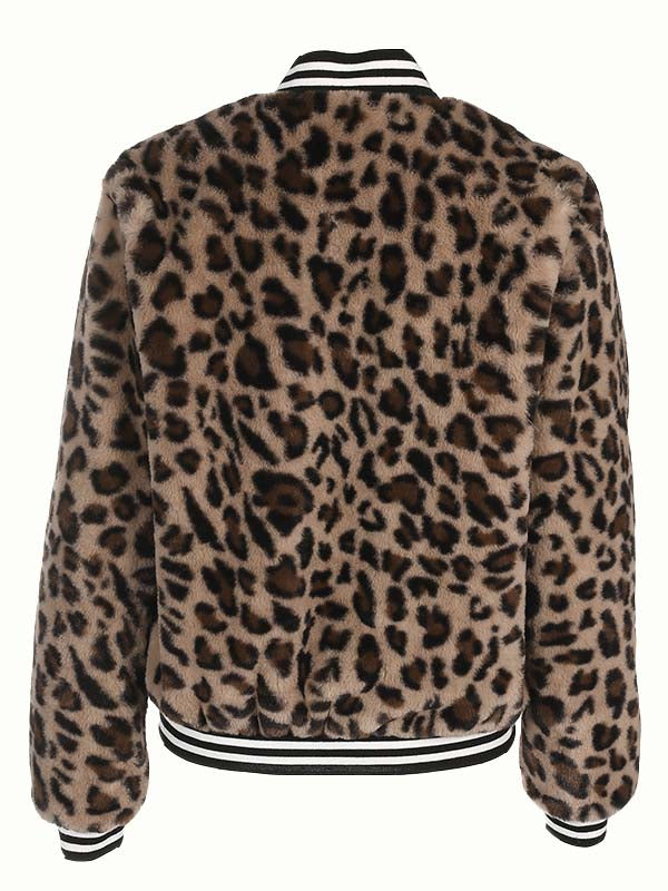 Brown Stripe Leopard Faux Fur Long Sleeve Jacket