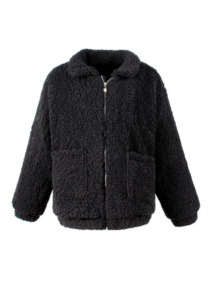 Black Lapel Long Sleeve Faux Shearling Coat