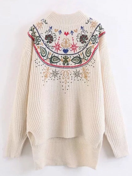 Beige Embroidery Detail Long Sleeve Dipped Hem Knit Sweather