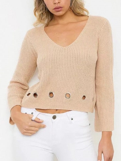 Khaki V-neck Eyelet Detail Long Sleeve Cropped Knit Jumper