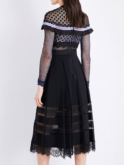 Black Cut Out Lace Top Long Sleeve Maxi Dress