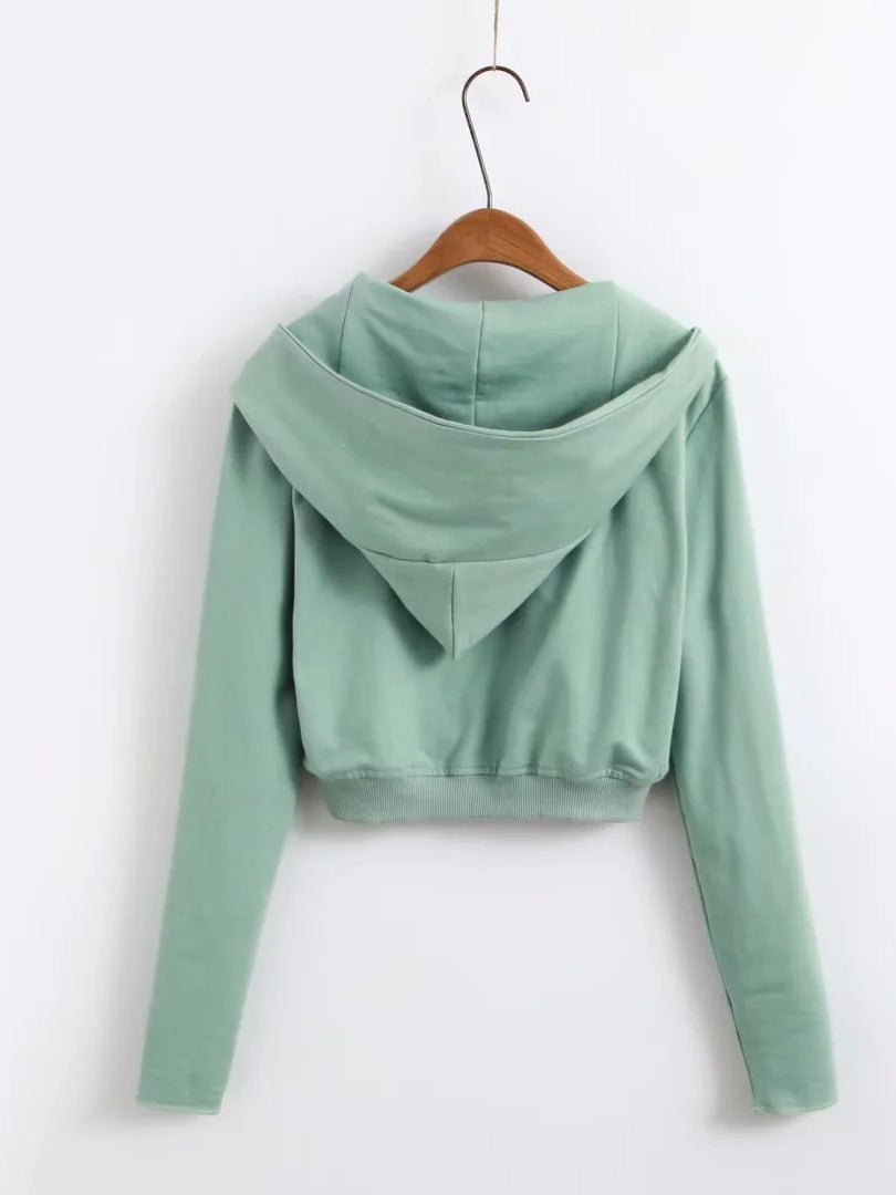 Green Long Sleeve Cropped Zip Up Hoodie