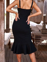 Black V-neck Lace Panel Ruffle Hem Women Cami Midi Dress