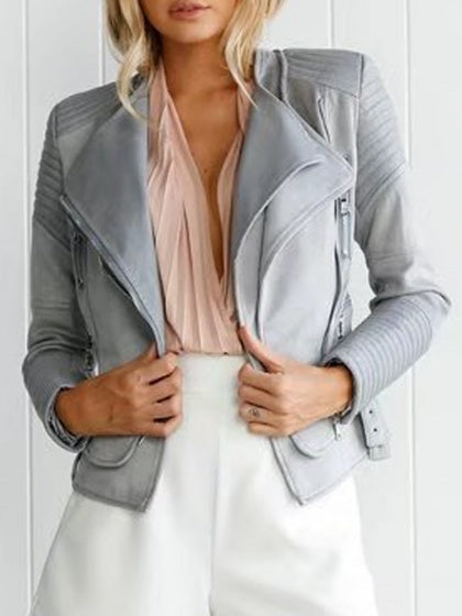 Gray Faux Suede Lapel PU Panel Biker Jacket