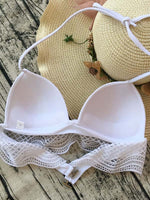 White Halter Lace Panel Bikini Top And Bottom
