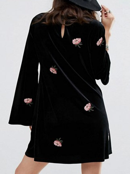 Black Velvet Embroidery Detail Long Sleeve Mini Dress