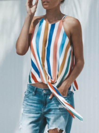 Multicolor Stripe Tie Front Chic Women Cami Top