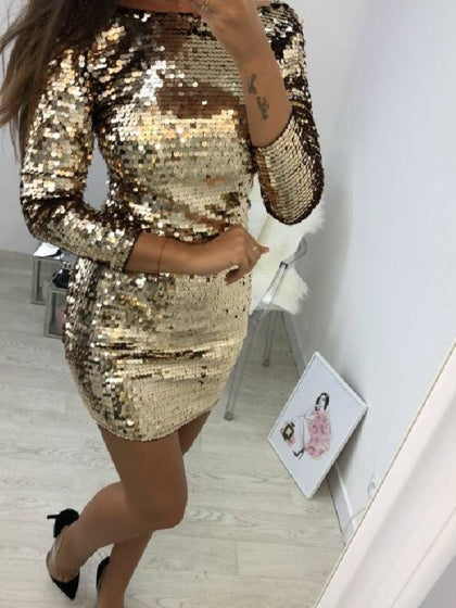 Golden Sequin Detail Long Sleeve Women Bodycon Mini Dress