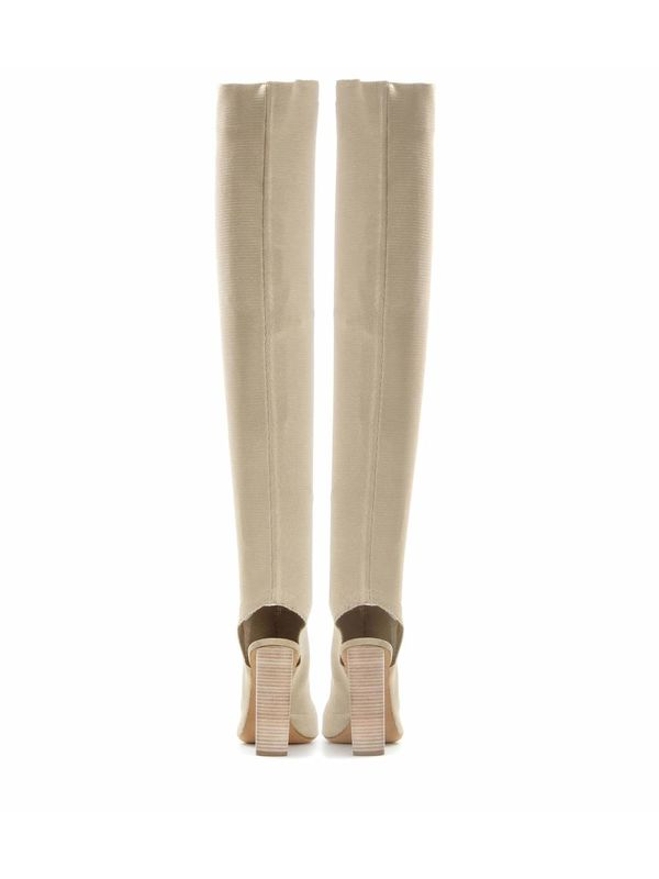 Light Khaki Peep Toe Stretch Heeled Over The Knee Boots