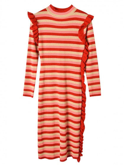 Red Stripe Frill Trim Long Sleeve Women Midi Dress