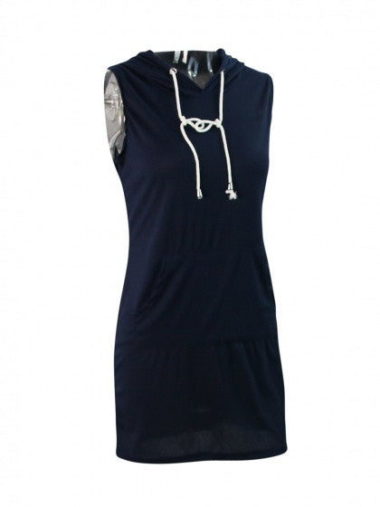 Summer Solid Sleeveless Sweat Casual Fashion Hoody Dress