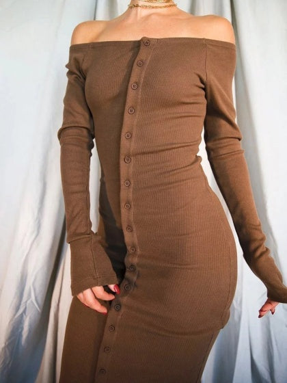 Brown Ribbed Off Shoulder Button Placket Front Long Sleeve Midi Dress