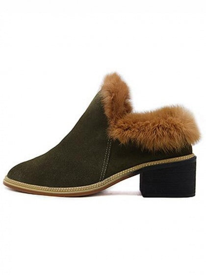 Army Green Faux Suede Fur Trim Shoes
